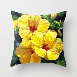 Yellow Hibiscus #18 Throw Pillow