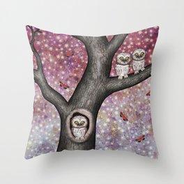 enchanted owls, moths, stars Throw Pillow