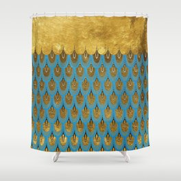 Blue and Gold Mermaid Scales Dreams Shower Curtain