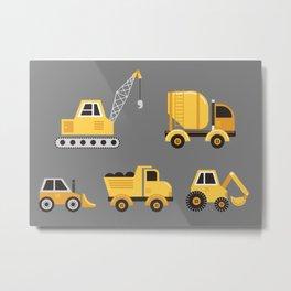 Construction Trucks on Gray Metal Print