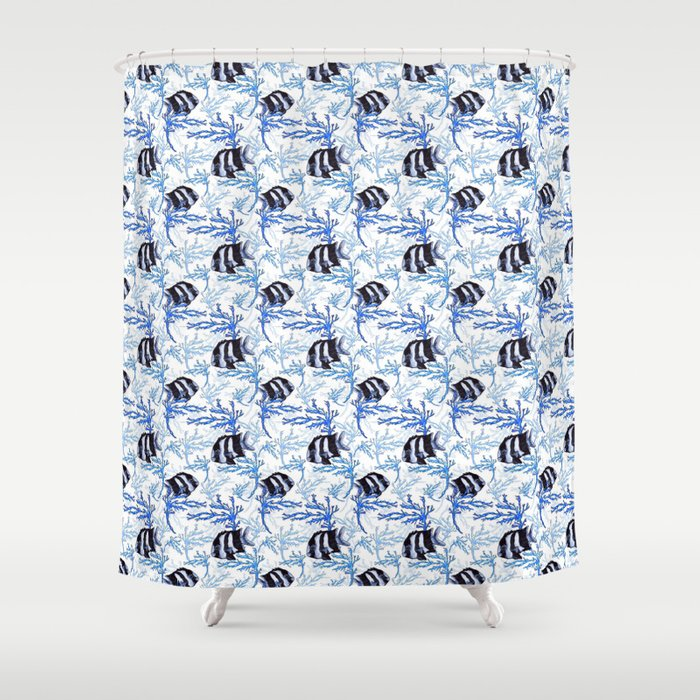 Damselfish In Blue Coral Shower Curtain