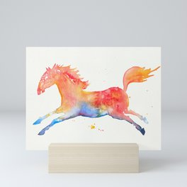 Rainbow horse in watercolors Mini Art Print