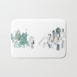 Mountains and the city Bath Mat