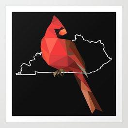 Kentucky – Northern Cardinal (Black) Art Print