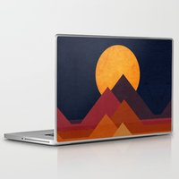 mountain Laptop & iPad Skins featuring Full moon and pyramid by Picomodi