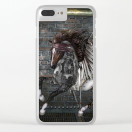 Steampunk, awesome steampunk horse with wings Clear iPhone Case