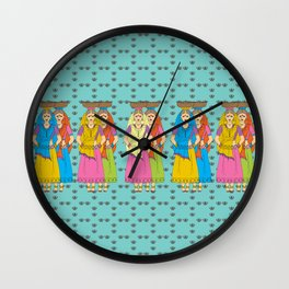 Indian Village Girls Wall Clock