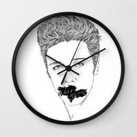 elvis presley Wall Clocks featuring ELVIS PRESLEY by Psychedelic Bugs - Besouro Independente