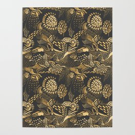 golden birds in the paisley forrest Poster