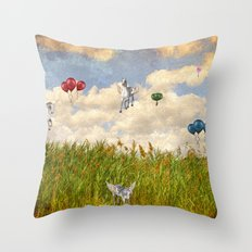 Pegasus and Balloons Throw Pillow
