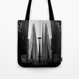 Shards - Black And White London Architecture Print Tote Bag