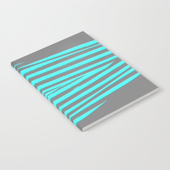 Aqua & Gray Stripes Notebook