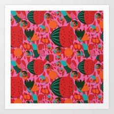 Watermelons and butterflies Art Print