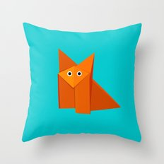 Cute Origami Fox Throw Pillow