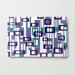 geometric rectangles violet - white background Metal Print