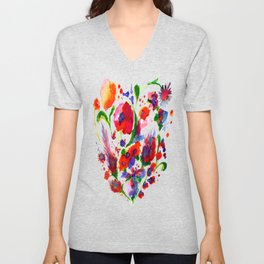 poppy wildflower heart Unisex V-Neck