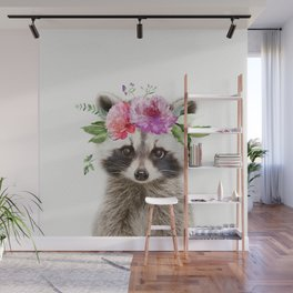 Baby Raccoon with Flower Crown Wall Mural