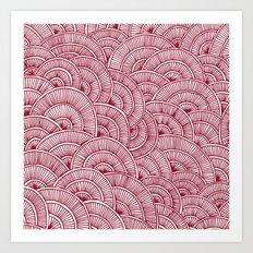 Swirls Red Art Print