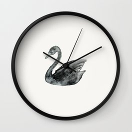 Elegant black white hand painted watercolor swan  Wall Clock