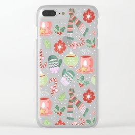 Cozy Christmas Pattern Clear iPhone Case