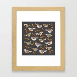 Graphic Birch Bark Birds and Fall Leaves Smokey Grey Stripe Framed Art Print