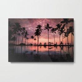 Serene Coconut Trees On Poolside Metal Print
