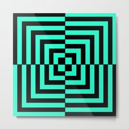 GRAPHIC GRID DIZZY SWIRL ABSTRACT DESIGN (BLACK AND GREEN AQUA) SERIES 5 OF 6 Metal Print