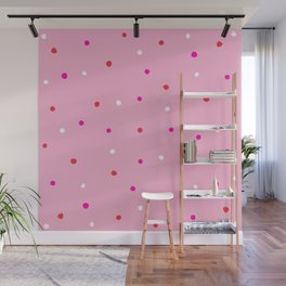confetti dots: pink red & white Wall Mural