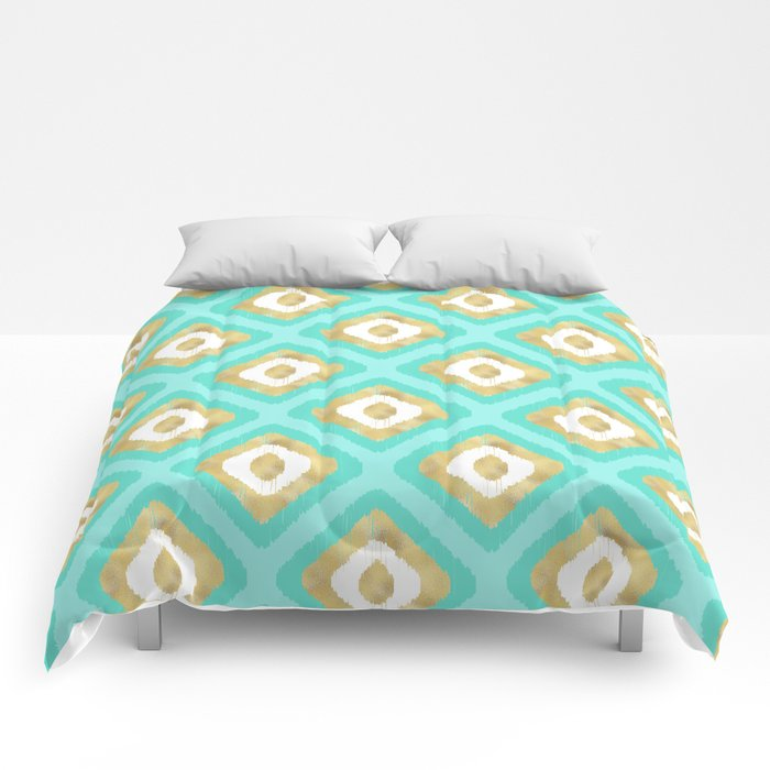 Gold & Turquoise Ikat Pattern Comforters