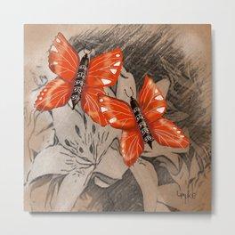 Butterflies and Lillies Metal Print