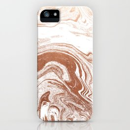 Marble copper metallic suminagashi spilled ink japanese marbling abstract ocean swirl iPhone Case