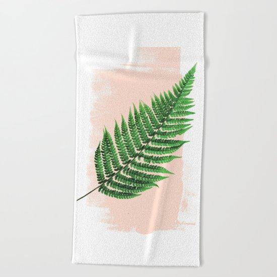 Fern Leaf on Pink Beach Towel