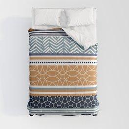 Boho Art Striped Pattern, Terracotta and Blue Comforters