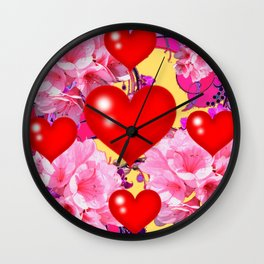 Red Hearts Art & Pink Floral Purple Patterns Wall Clock