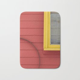 Bright Yellow and Coral Building Exterior Bath Mat