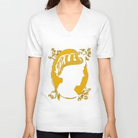 221b V-neck T-shirts featuring The Golden Boy from 221B by Suuki