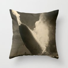The Hindenburg hits the ground in flames in Lakehurst, N.J. Throw Pillow