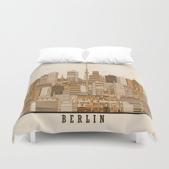 berlin skyline vintage  Duvet Cover