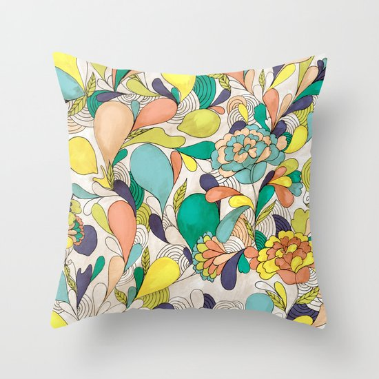 Balloons in bloom Throw Pillow