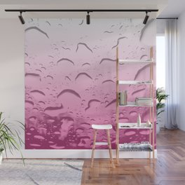Water drops in Pink Wall Mural