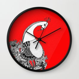 The Peahen in all her wedding finery (by Anjuri) Wall Clock