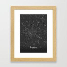 Laval, France - Dark Map Framed Art Print