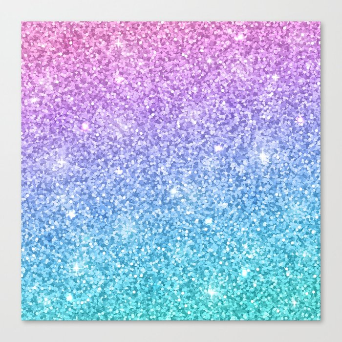 Pink Ombre Glitter Canvas Print By Newburydesigns