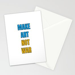 Make art not war - blue and yellow Stationery Cards