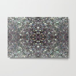 Sparkly colourful silver mosaic mandala Metal Print
