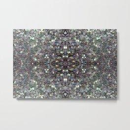 Sparkly colourful silver mosaic mandala Metal Print