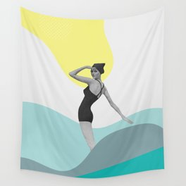 Swimmer Collage Wall Tapestry