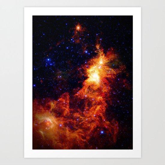 Fiery gAlAXy Indigo Stars Art Print