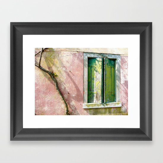 Old green window Framed Art Print