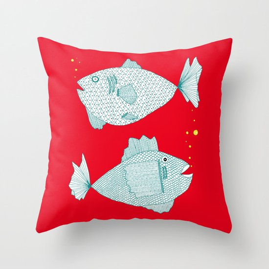 Two Old Fish Throw Pillow